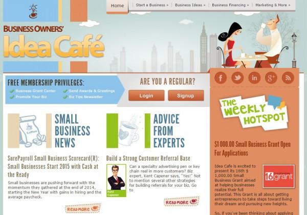 アイデアカフェのホームページ
