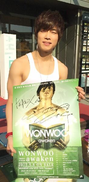 WONWOOさん=2015年4月26日、タワーレコード神戸インストアライブで堀内優美さん撮影