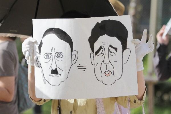 「SADL×SEALDs KANSAI『戦争法案』に反対する関西デモ」集合場所にて=2015年7月19日、撮影・橋本正人