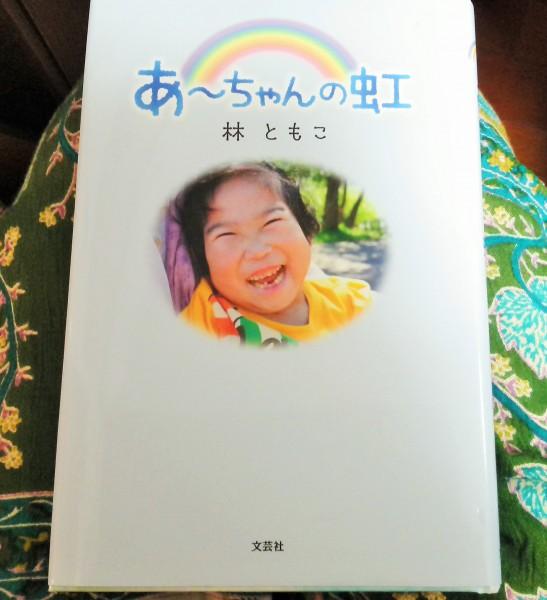 「あ~ちゃんの虹」は記事を書いている間、ずっと筆者の膝の上にありました。撮影:松中みどり