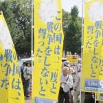 国会前抗議行動に参加した「FB憲法九条の会」=2015年7月26日、撮影・橋本正人