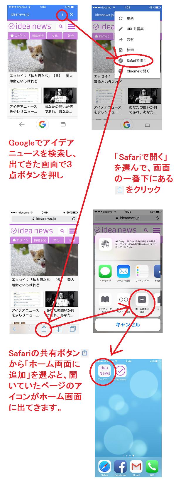 Safariでアイデアニュースのアイコンをホーム画面に追加する方法