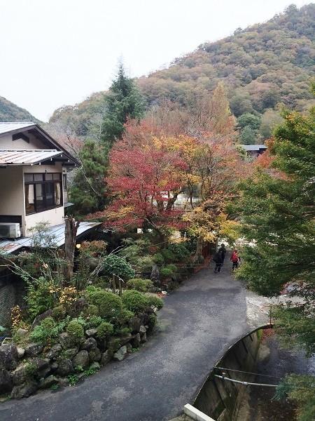 マルキ旅館の玄関先の道、奥に見えているのは川向うの宝塚側の山=2015年11月13日、撮影・橋本正人