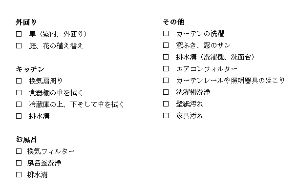 お掃除リスト