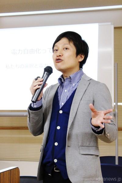 講演する豊田陽介さん=撮影・橋本正人