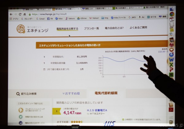 豊田陽介さんが上映したスライドの一部=撮影・橋本正人