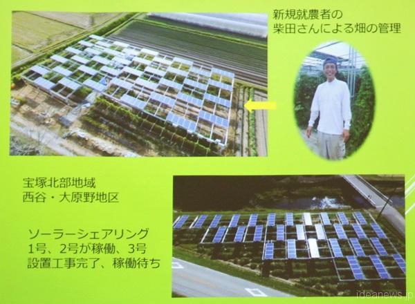 宝塚でのソーラーシェアリングの様子=「宝塚すみれ発電」のスライドより、撮影・橋本正人