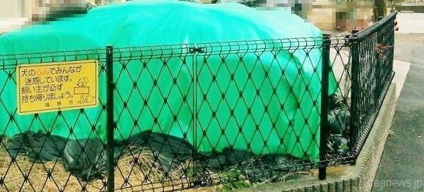 家を除染した廃棄物は、住宅地の場合、回収されるまで庭などに置かれているそうです=撮影・松中みどり