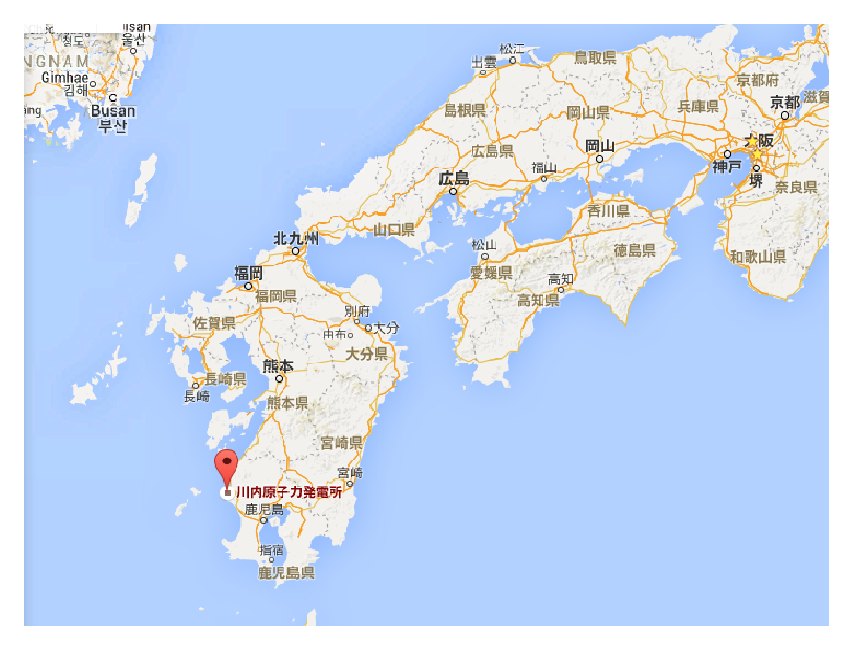 The red mark shows the location of the Sendai nuclear power plant