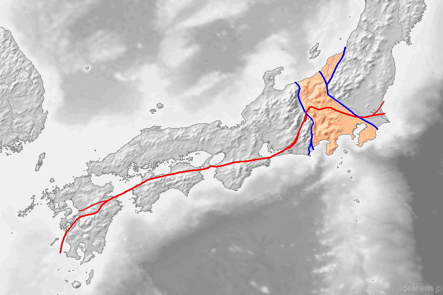 The red line shows Japan median tectonic line=http://commons.wikimedia.org/wiki/File:Tectonic_map_of_southwest_Japan.png
