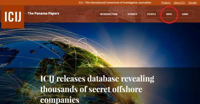 パナマ文書のページで「DATA」をクリック=ICIJのページより