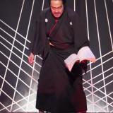 ラスト場面の迫力は圧巻(織田信長役・榊原利彦さん)=撮影・堀江男二