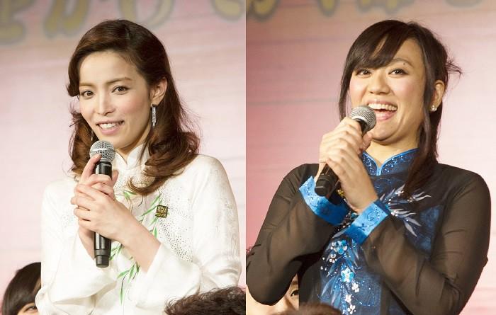 エレン役の知念里奈さん(左)と三森千愛さん=ミュージカル『ミス・サイゴン』製作発表より、撮影・岩村美佳