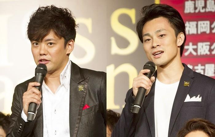 トゥイ役の藤岡正明さん(左)と神田恭兵さん=ミュージカル『ミス・サイゴン』製作発表より、撮影・岩村美佳