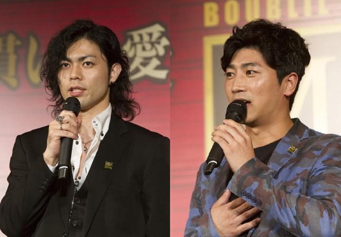 ジョン役の上原理生さん(左)とパク・ソンファンさん=ミュージカル『ミス・サイゴン』より、撮影・岩村美佳