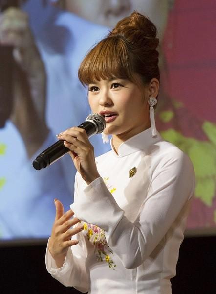 キム役の昆夏美さん=ミュージカル『ミス・サイゴン』製作発表より、撮影・岩村美佳