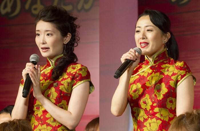 ジジ役の池谷祐子さん(左)と中野加奈子さん=ミュージカル『ミス・サイゴン』製作発表より、撮影・岩村美佳