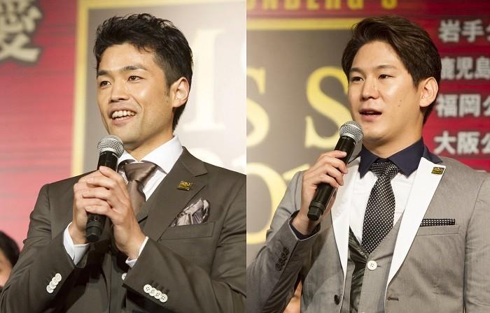 クリス役の上野哲也さん(左)と小野田龍之介さん=ミュージカル『ミス・サイゴン』製作発表より、撮影・岩村美佳