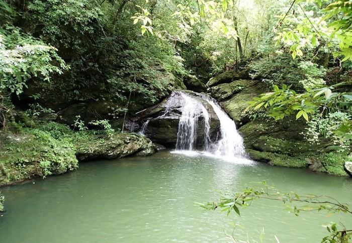 新川ダム下の滝に到着 2016年8月11日新川川流域にて=撮影・松中みどり