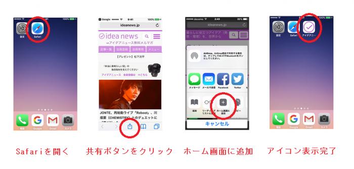iPhoneでのアイコン追加の説明