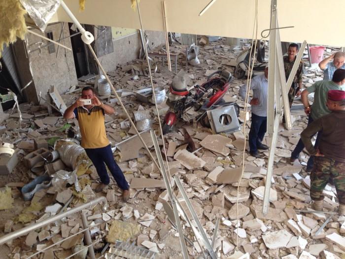 空爆や過激派との戦闘によって破壊されたファルージャ総合病院(2016年8月 病院スタッフ撮影)