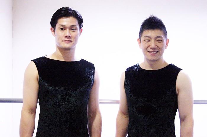 鼓童の船橋裕一郎さん(右)と坂本雅幸さん=撮影・桝郷春美