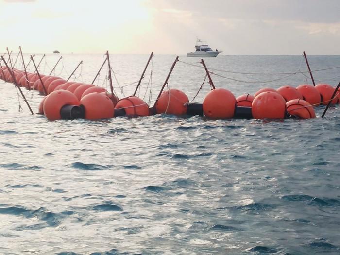 辺野古・大浦湾に出現したフロートは工事に抗議する人たちを阻むためのもの=撮影・松中みどり