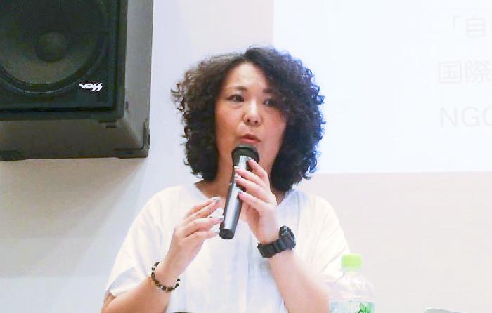 2017年7月14日、イラク最新報告会での高遠菜穂子さん=撮影・松中みどり