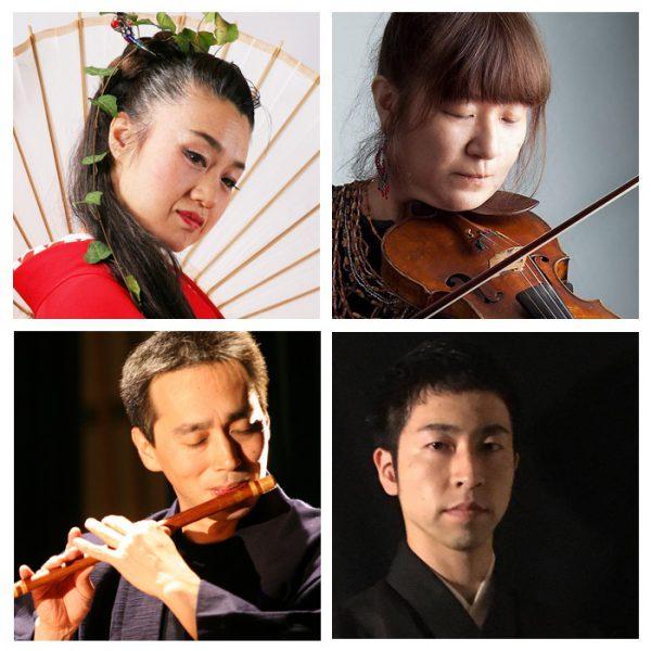 写真左上から、舞・太鼓の小島千絵子さん、バイオリンの向島ゆりさん、笛・三味線の木村俊介さん、太鼓・鳴り物・他の前田剛さん