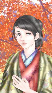 『龍起伝』久子のiPhone用壁紙(750×1334)=画・anji56