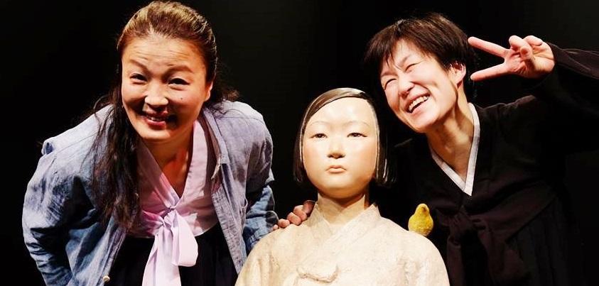 4月22日・23日の舞台『キャラメル』洪美玉さん(左)ときむきがんさん(右)=きむきがんさんのFacebookページより
