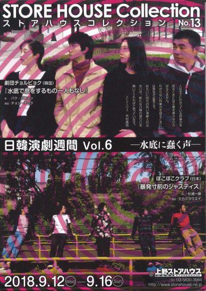 「ストアハウスコレクションNo.13 日韓演劇週間Vol.6 ー水底に蠢く声ー」のフライヤー