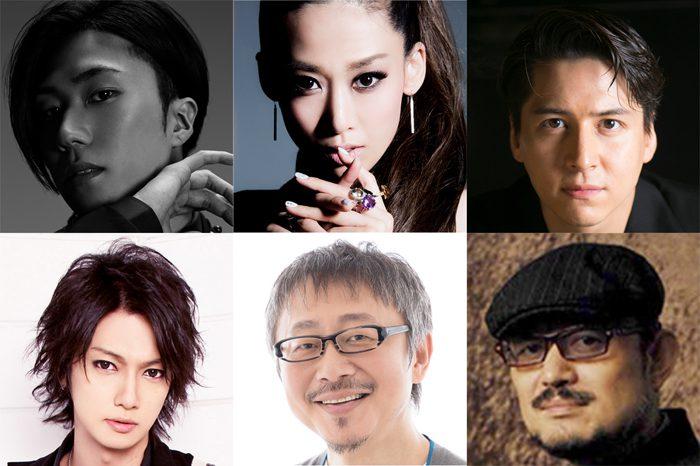 音楽活劇『SHIRANAMI』に出演する(左上から)早乙女太一、龍真咲、伊礼彼方、(左下から)喜矢武豊、松尾貴史のみなさんと、脚本・演出のG2さん