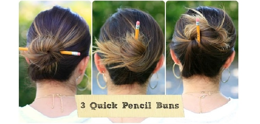YouTubeの「3 Quick Pencil Bun Ideas | Back-to-School Hairstyles」=「Cute Girls Hairstyles」チャンネルより
