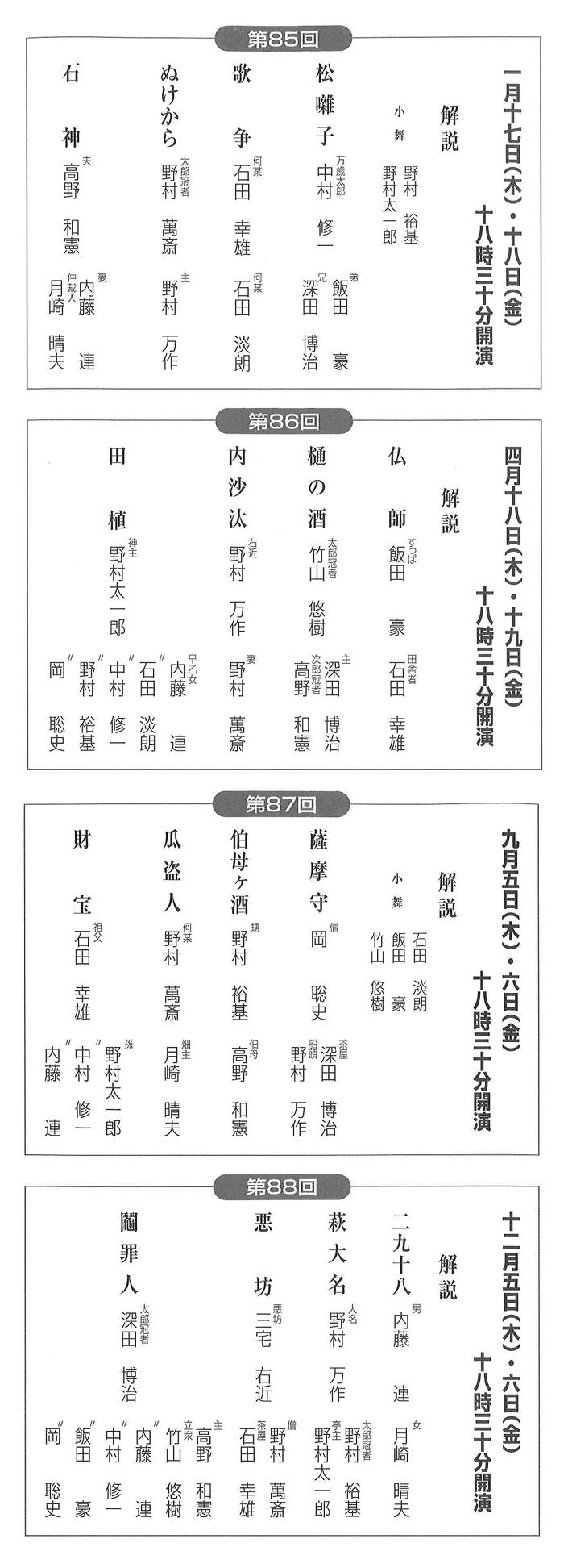 平成31年度の「野村狂言座」(演目・配役などは変更される場合があります)