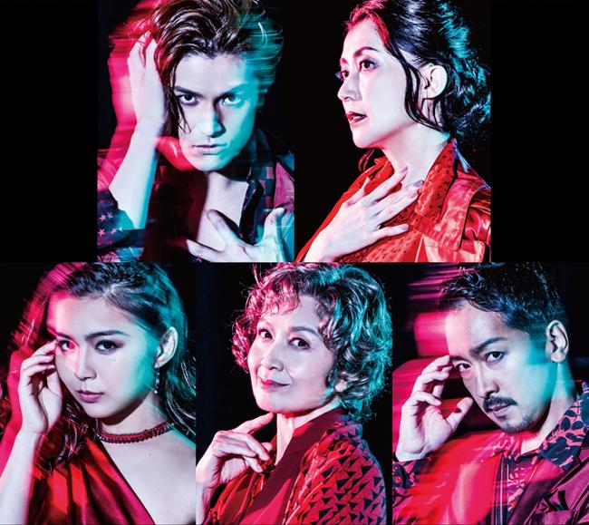 ミュージカル『オン・ユア・フィート!』に出演する(上段左から)渡辺大輔さん、一路真輝さん、(下段左から)青野紗穂さん、久野綾希子さん、栗原英雄さん