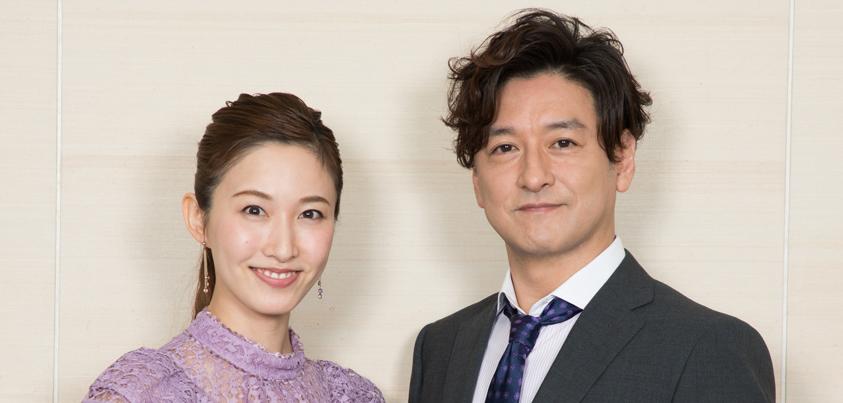 石丸幹二さんと実咲凜音さん=撮影・岩村美佳