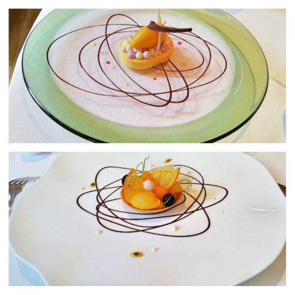 2019年6月30日「メゾン・ド・タカ芦屋」にて 夏の果物を使ったタルト 上が同じものを調整した嚥下食 =撮影・松中みどり