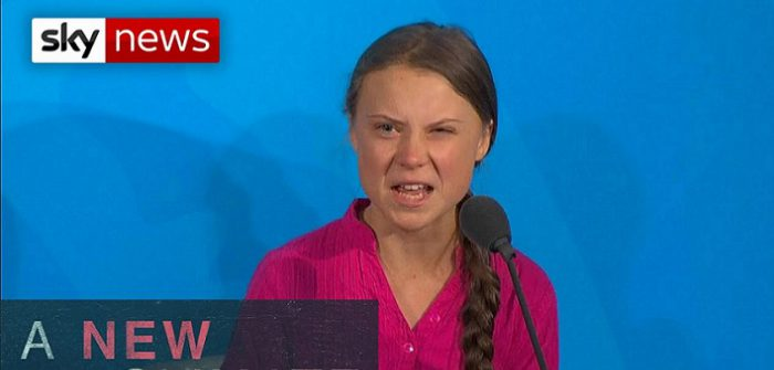 YouTubeのClimate activist Greta Thunberg rebukes world leaders=Sky News チャンネルより