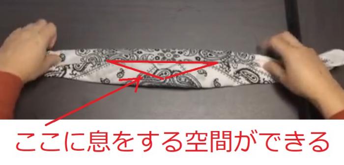 10秒でできるバンダナマスクの結び方=撮影・橋本正人