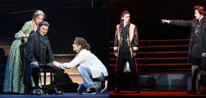 (左側写真、左より)和音美桜さん、市村正親さん、山崎育三郎さん、(右側写真、左より)古川雄大さん、山口祐一郎さん=写真提供:東宝演劇部