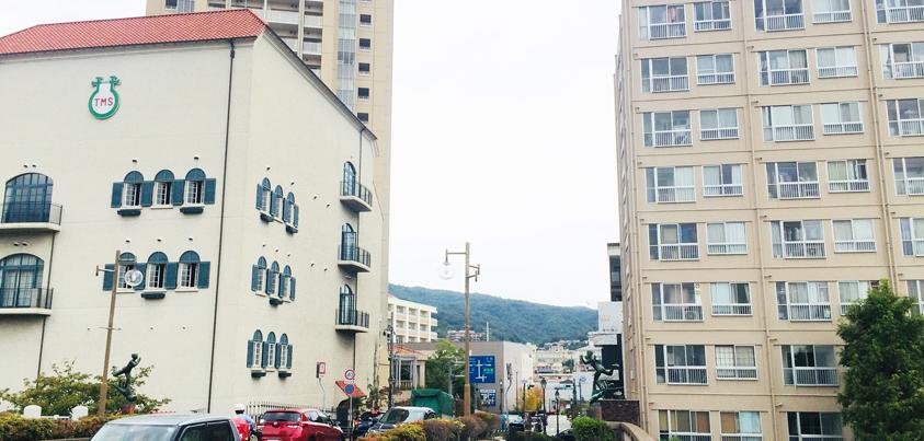 アイデアニュース社が所有する1室の賃貸入居者募集が始まった「宝塚第壱コーポラス」(写真右側)。道路を挟んだ左側は宝塚音楽学校=撮影・橋本正人