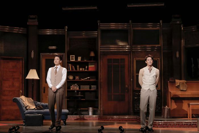 ミュージカル『ダブル・トラブル』 ハリウッドチーム、オープニングトークの模様(左から)福田悠太さん、辰巳雄大さん=撮影・岡千里