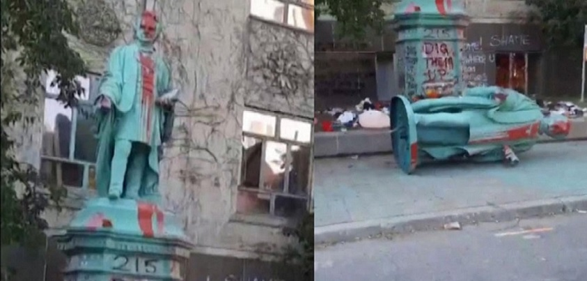Protesters Tear Down Statue of Residential Schools Founder             Inside Edition YouTube チャンネル